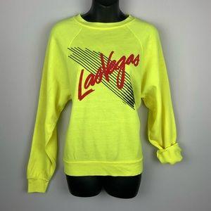 VINTAGE 80s Neon Green Yellow Las Vegas Sweatshirt